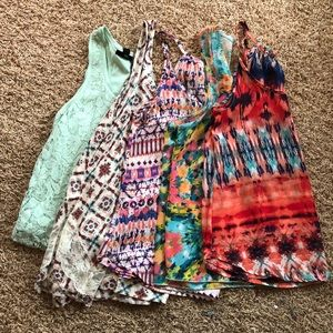 Tops - BUNDLE: printed and lace tank tops